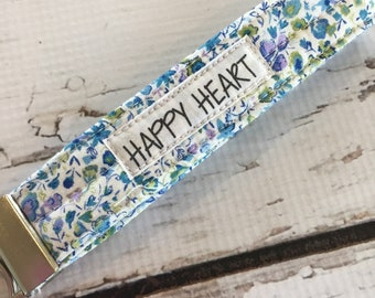 Wristlet Floral Key Fob, Happy Heart Gifts for friends, teens, family, co worker