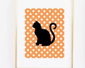 cat silhouette halloween decor printable 8x10 instant download