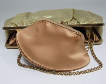 Vintage After Five Gold Metallic Purse with Coin Purse- 1950/60's, L and M