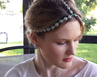 Silver Metal Flower Jade Green Beaded Headpiece with Adjustable Chain and Clasp, for weddings, parties, special occasions