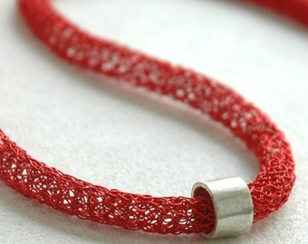 Long necklace , red chic tube necklace ,  long necklaces collection , wire crochet red necklace , handmade jewelry