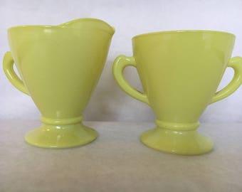 Vintage Hazel Atlas Platonite Ovide Yellow Sugar and Creamer Milk Glass