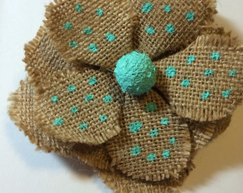 Burlap Flower Barrette. This is a large barrette.  4 inches. Add some color to your hair!