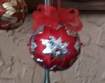 Red and Silver  No Sew Ribbon  Ornament