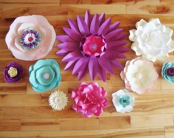 Set of 10 Paper Flowers - Paper Flower Wall | Paper Flower Backdrop | Paper Flowers for Nursery | Paper Flower Wedding | Paper Flowers