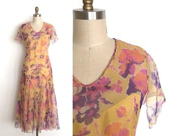 vintage 1920s dress | 20s floral chiffon dress