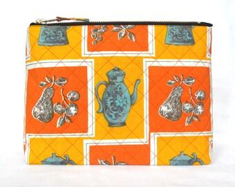 1950's Vintage Fabric Print Cotton Wash Bag, Toiletries Bag - Large, Hand Quilted, & Sturdy - Orange + Yellow Kitchenalia