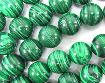 "12mm synthetic green malachite round beads 15.5"" strand S2 34852"