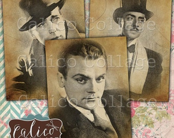 Dashing Men, Printable Ephemera, Collage Sheet, Digital Collage, Instant Download, Silver Screen Actors, Dapper Gentlemen, Calico Collage