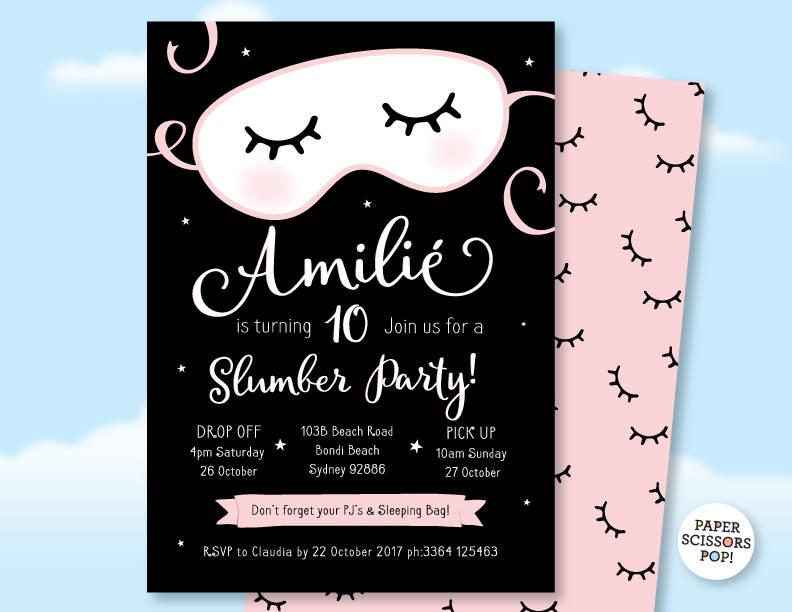 Slumber Party Invitation Pajama Party Sleepover Invitation