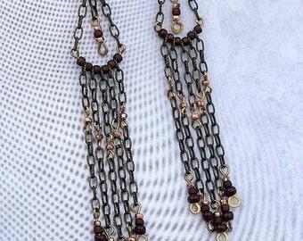 Antique Brass, Seed Beads, Chandelier earrings, Dangle earrings, Drop Earrings, Shoulder Dusters, Jewelry, Handmade, Boho Style