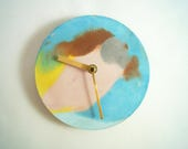 Round Concrete Clock with Seaside Palette