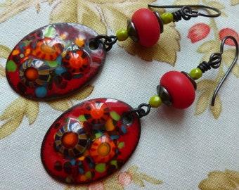 Millefiori Dangles, Enamelled Copper Earrings, Flower Earrings, Cottage Chic, FireSpiritBeads, GlassNatalyaDarlin, Northernblooms