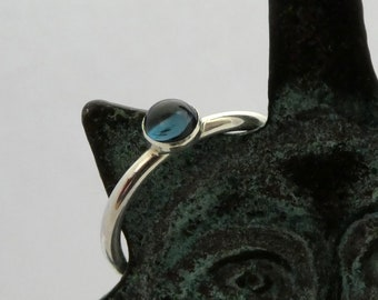 Silver ring London Blue Topaz 5mm round cabachon bezel set, Sterling silver 925 2mm wire ring with London Blue Topaz centrepiece silver ring
