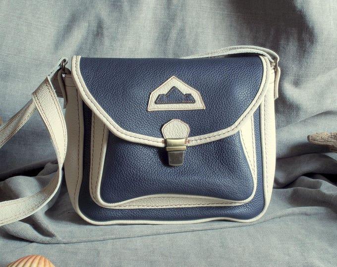 shoulder bag, satchel, handbag grained leather beige and blue night