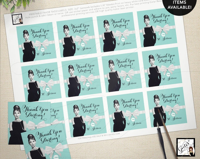 "Audrey Hepburn thank you gift tags, stickers, party favors breakfast at bridal blue favor thank you tags 2x2"" 12/Per Sheet"