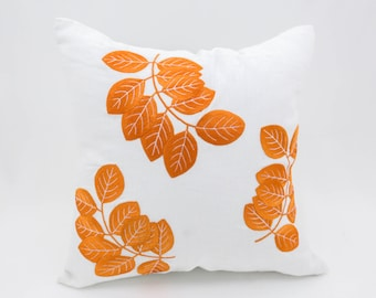 White Decorative Throw Pillow Cover, White Linen Orange Leaves Embroidered Pillow, Floral Couch Pillow, Leaf Cushion Cover, Botanical Pillow