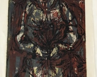 The Bride, Original Woodcut on Rice Paper, signed and numbered by William G. Haendel