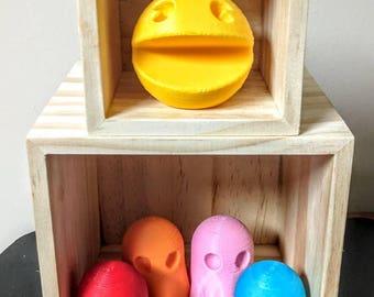 3D Printed Pacman + 4 Ghosts -