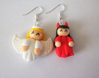 Earrings Angel or Devil? blonde and Brown polymer clay doll