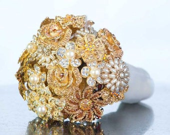 Brooch Bouquet - Custom Bouquet - Crystal Bouquet - Bridal Bouquet - Wedding bouquet - Gold Wedding Bouquet - Bling Wedding - Deposit