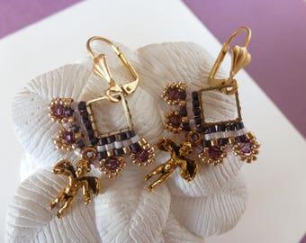"Beadwoven earrings ""Angel"", Angel, swarovski crystal charm and miyuki beads, gold and purple. ""Angel"" earrings."