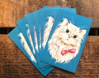 Vintage Cat Playing Cards - Set of 6 - Vintage Cards, Vintage Kitten Cards, Scrapbooking Ephemera, Card Ephemera, Junk Journal, Vintage Cats