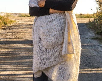 Travel Scarf  Hand Knit Cardigan
