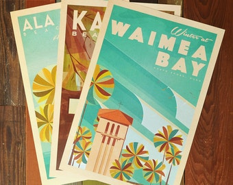 Oahu Beach Parks  - 12x18 Retro Hawaii Print Series