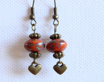 Beads and charms dangling earrings