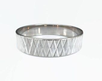 Japanese Eloxal Aluminum Bangle Bracelet - X pattern, Etched Metal, Silver Tone, Marked Japan, Vintage Bracelet, Vintage Jewelry