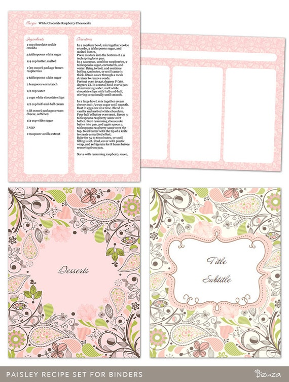 recipe sheets printable
