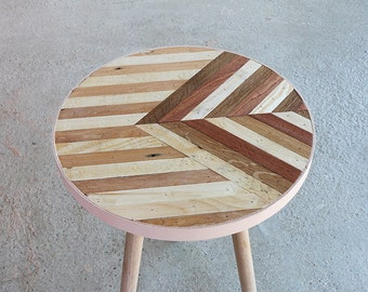 Rustic Side Table | Vintage Stool | One Off | Oak, Mahogany & Pine | Retro Style Coffee Table