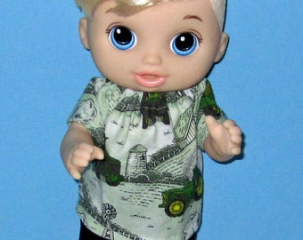 Snackin Luke, Baby Alive, Baby Alive Doll Clothes, Green Tractor Set, Boy Doll Clothes, 12 13 inch Doll Clothes,Outfit Sweet Spoonfuls