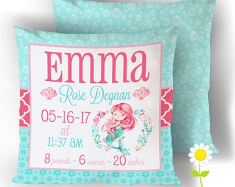 Birth Announcement Pillow Cover w/ Mermaid - Personalized Birth Stats Throw Pillow - Custom Baby Name Cushion Cover - Mermaid Nursery Decor