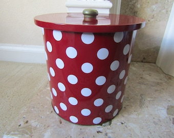 Vintage Red and White Dotty Biscuit Tin