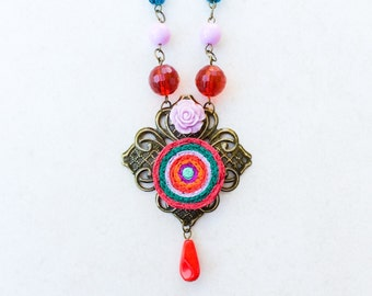 Mexican Spanish Flower Necklace, Southwestern Collage Tassel Necklace