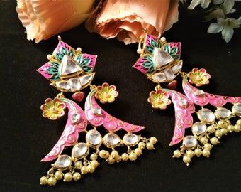 Beautiful Pink Hand Painted Meenakari Work-Kundan Bridal Earrings-Wedding jewellery-Faux Pearls- With Gift Box-ER71