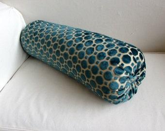TURQUOISE BLUE raised velvet  bolster pillow 8x30
