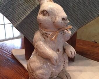 Ceramic Bunny, Ivory Bunny,Farmhouse Bunny, Easter Bunny, Shabby Chic Decor, Country Decor, Country Bunny