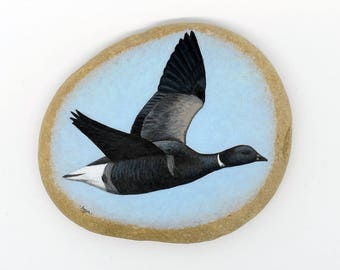 Painted Pebble Paperweight - Brent Goose