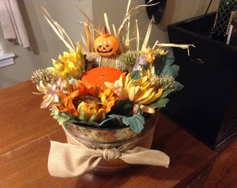 Autumn Scarecrow Floral Bucket with Candle
