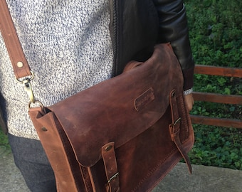 Premium Italian Leather !! Brown Leather Messenger bag,Leather Shoulder Bag,Leather Messenger,Messenger for men,Mens Brown Leather Messenger