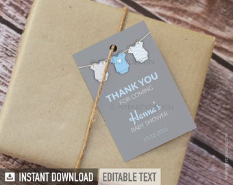 Blue Baby Shower, bodysuit theme  - Thank you Tags - Favor labels - Boy Baby Shower - INSTANT DOWNLOAD - Printable PDF with Editable Text