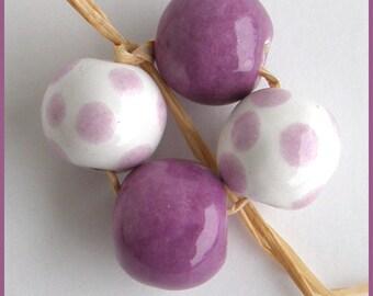 Okawa Ceramic Beads Set in Orchid and Grape
