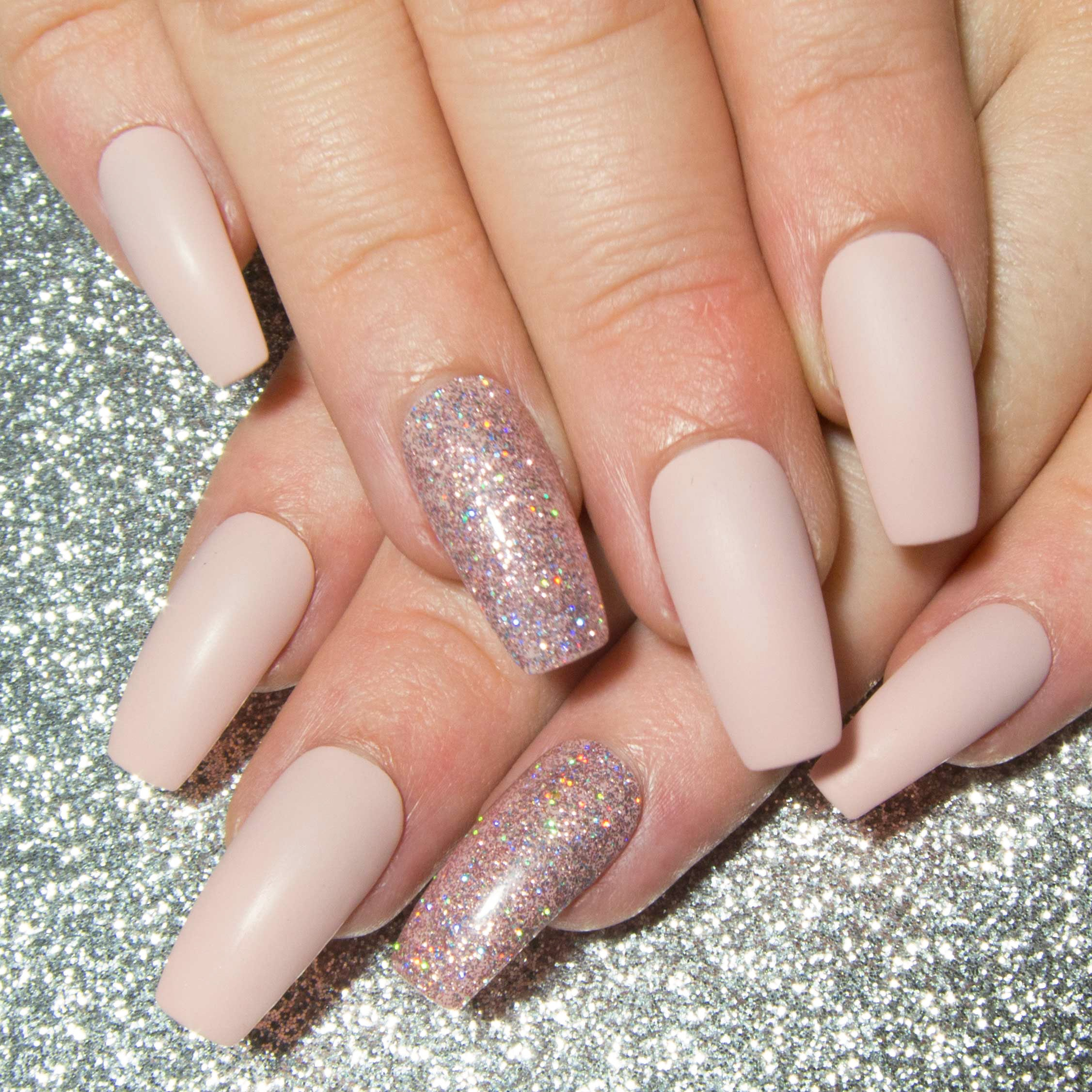 Drücken Sie auf Nägel matt rosa Fake Nägel falsche Nägel