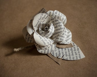 book paper rose corsage / boutonnière - rustic & chic wedding accessory