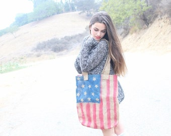 Very cute  american flag  bag made from  bagburlap fabric  great accessory for your outfit