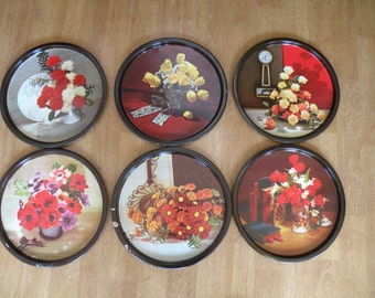 Round metal Trays, Set of 6, serving tray, flowers, mid century