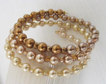 Cream and Mocha Hombre Style Memory Wire Multi-loop Bracelet with Pearls and Glass Beads